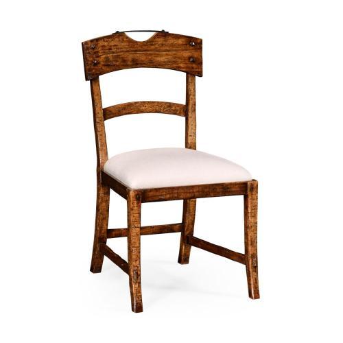 Planked walnut rustic side chair with upholstered seat