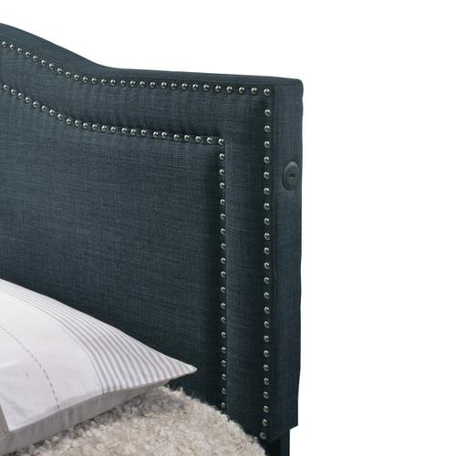 Accentrics Home - Navy Upholstered All-in-One Camel Back Queen Storage Bed with USB