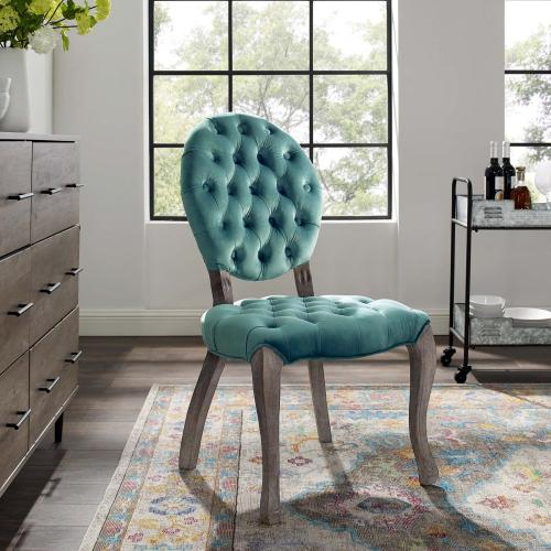 Exhibit French Vintage Dining Performance Velvet Side Chair in Teal