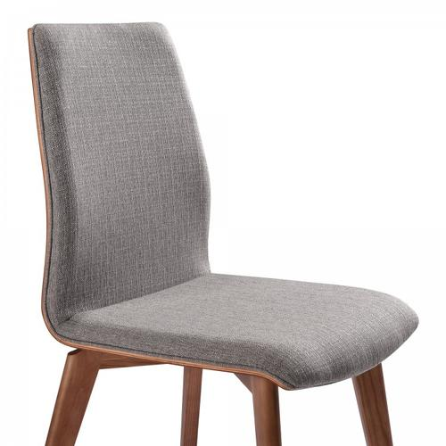 Armen Living - Armen Living Archie Mid-Century Dining Chair in Walnut Finish and Gray Fabric - Set of 2