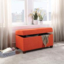 Fabric Storage Ottoman In Tangerine