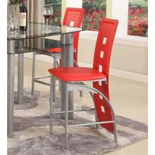 "Metal Contemporary 24"" Counter Height Chairs in Red Set of 2"