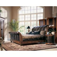 Sleigh Bed W/ Crocodile Embossed Leather Panels 6/6