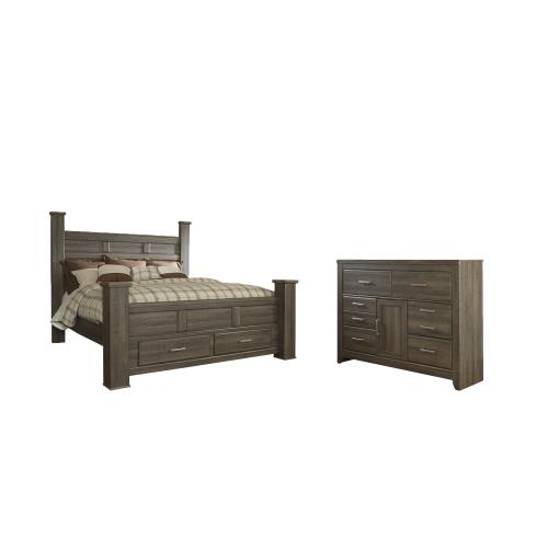 Product Image - King Poster Bed With 2 Storage Drawers With Dresser