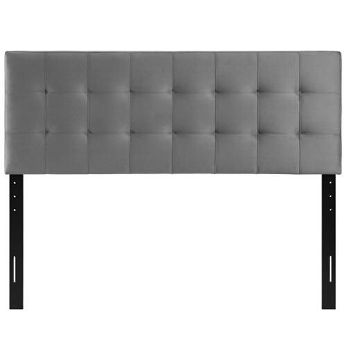 Lily King Biscuit Tufted Performance Velvet Headboard in Gray