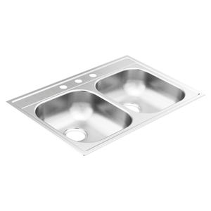 "2000 Series 33""x22"" stainless steel 20 gauge double bowl drop in sink"