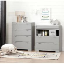 Changing Table and 4-Drawer Chest Set - Soft Gray