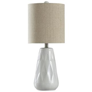 Halifax Ceramic  26in Eclectic Transitional Diamond Cut Design Table Lamp  Tan Fabric Shade  100