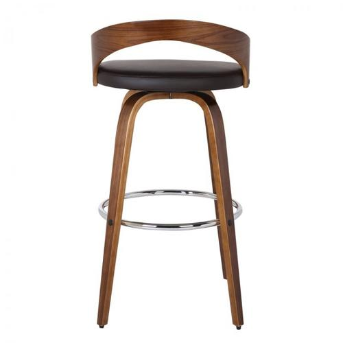"""Armen Living Sonia 30"""" Bar Height Barstool in Walnut Wood Finish with Brown Faux Leather"""