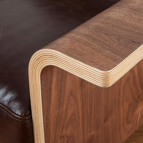 Lodge Chair Saddle Brown Leather / Walnut