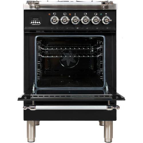 Nostalgie 24 Inch Dual Fuel Liquid Propane Freestanding Range in Glossy Black with Chrome Trim