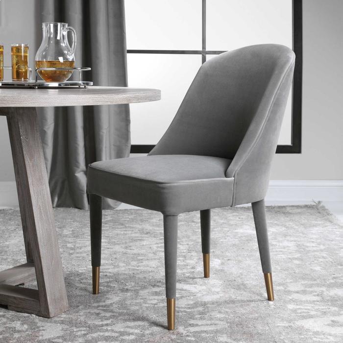 Uttermost - Brie Armless Chair, Gray, 2 Per Box