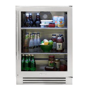 True Residential24 Inch Stainless Glass Door Right Hinge Undercounter Refrigerator