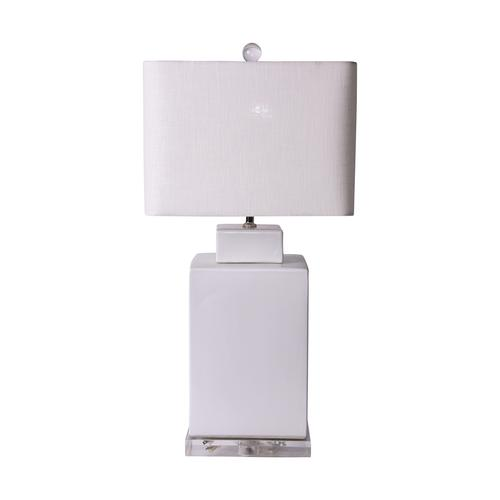 Square Tea Jar Lamp, Matte White