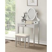 Moniys Wood Moniya Makeup Vanity Table and Stool Set, Silver