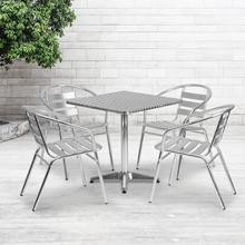 See Details - 27.5'' Square Aluminum Indoor-Outdoor Table Set with 4 Slat Back Chairs