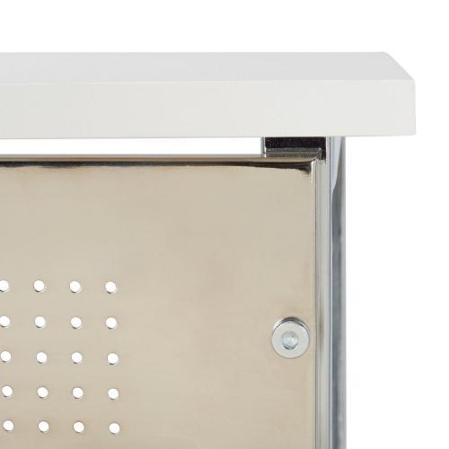Hayden 3 Shelf Standing Desk - White / Chrome