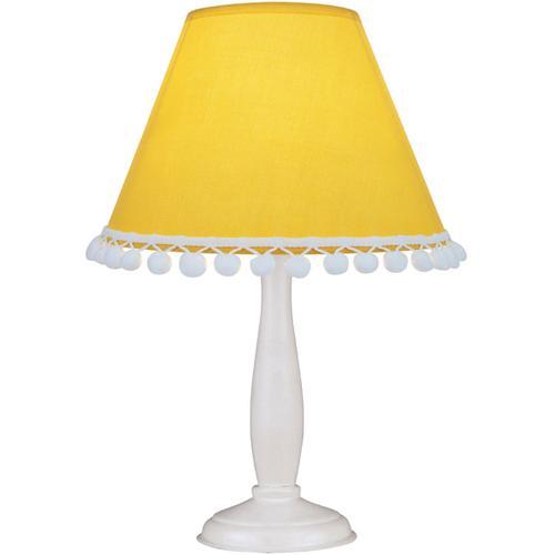 Table Lamp - White Wood BODY/L.YELLOW Dot Shade, E12 B 40w