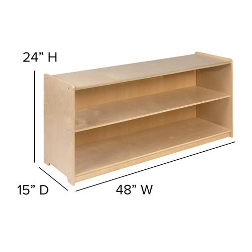 """Flash Furniture - Wooden 2 Section School Classroom Storage Cabinet for Commercial or Home Use - Safe, Kid Friendly Design - 24""""H x 48""""L (Natural)"""