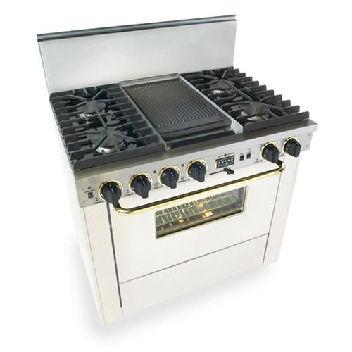 """36"""" Dual Fuel, Convect, Self-Clean, Sealed Burners, White with Brass"""