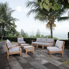 Marina 9 Piece Outdoor Patio Teak Set in Natural Gray