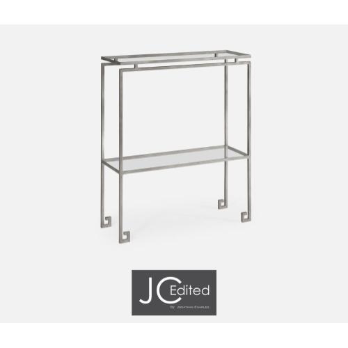 Silver iron small narrow console table