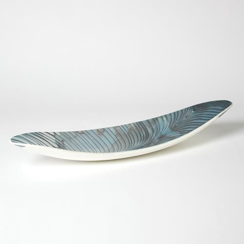 Ivory Turquoise Feather Swirl Oval Bowl-Sm