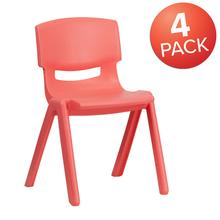 4 Pack Red Plastic Stackable School Chair with 13.25'' Seat Height [4-YU-YCX-004-RED-GG]