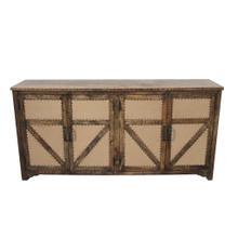 See Details - Yellowstone Mango Wood 4 Door Burlap Sideboard