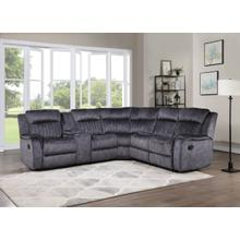 See Details - 8170 BLUE GRAY Fabric Reversible Sectional Sofa Manual Recliners