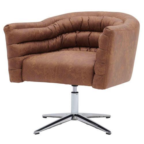 Holmes KD Fabric Swivel Arm Chair, Devore Cocoa