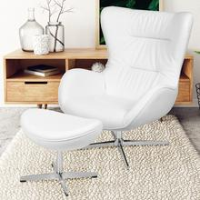 See Details - White LeatherSoft Swivel Wing Chair and Ottoman Set