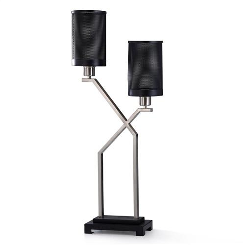 DENZIO TABLE LAMP  33in ht.  Modern Industrial Style Two Head Uplight Desk Lamp in Black and Brush