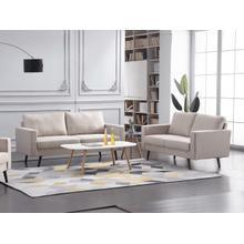 See Details - 8127 2PC BEIGE Linen Stationary Basic Living Room SET