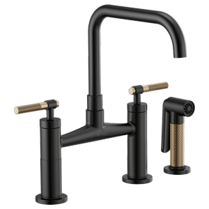 Bridge Faucet With Square Spout and Knurled Handle Product Image