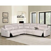 Casa Ivory 6-Piece Dual-Power Reclining Leather Sectional