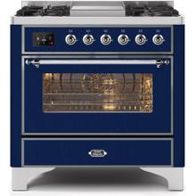 Majestic II 36 Inch Dual Fuel Natural Gas Freestanding Range in Blue with Chrome Trim
