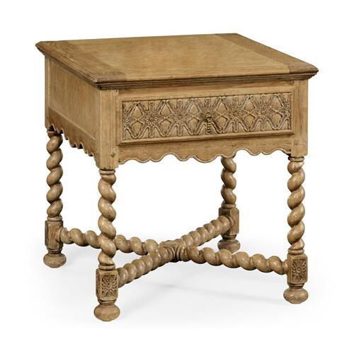 Natural oak square side table