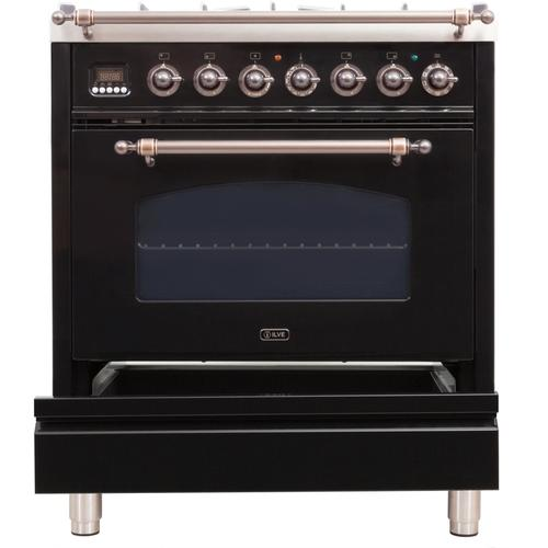 30 Inch Glossy Black Dual Fuel Natural Gas Freestanding Range