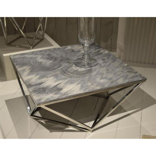 Square Coffee Table Base - Gray Marble Finish