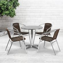 See Details - 27.5'' Round Aluminum Indoor-Outdoor Table Set with 4 Dark Brown Rattan Chairs