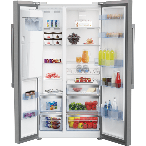 "36"" Side by Side Stainless Steel Refrigerator with Auto Ice and Water Through the Door"