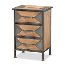 See Details - Baxton Studio Laurel Rustic Industrial Antique Grey Finished Metal and Whitewashed Oak Brown Finished Wood 3-Drawer Nightstand