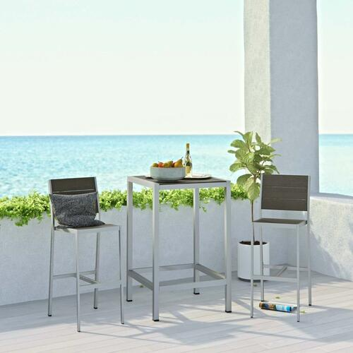 Modway - Shore 3 Piece Outdoor Patio Aluminum Pub Set in Silver Gray