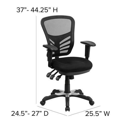 Flash Furniture - Mid-Back Black Mesh Multifunction Executive Swivel Ergonomic Office Chair with Adjustable Arms