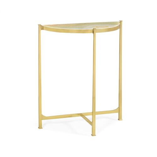 Small Solid Brass & Green Onyx Top Demilune Console Table