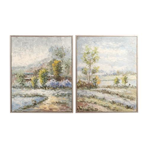 Wayward Rivers Hand Painted Canvases, S/2