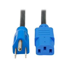 Desktop Computer AC Power Cable, NEMA 5-15P to C13 - 10A, 125V, 18 AWG, 4 ft., Blue Plugs