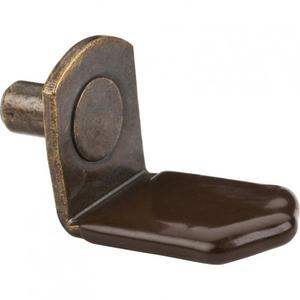 "Antique Brass 5 mm Pin Angled Shelf Support with 3/4"" Arm and Brown Sleeve Product Image"