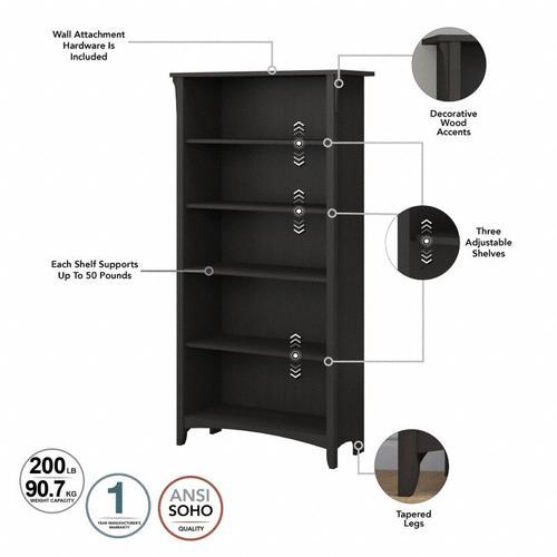 Salinas Tall 5 Shelf Bookcase - Set of 2 - Vintage Black